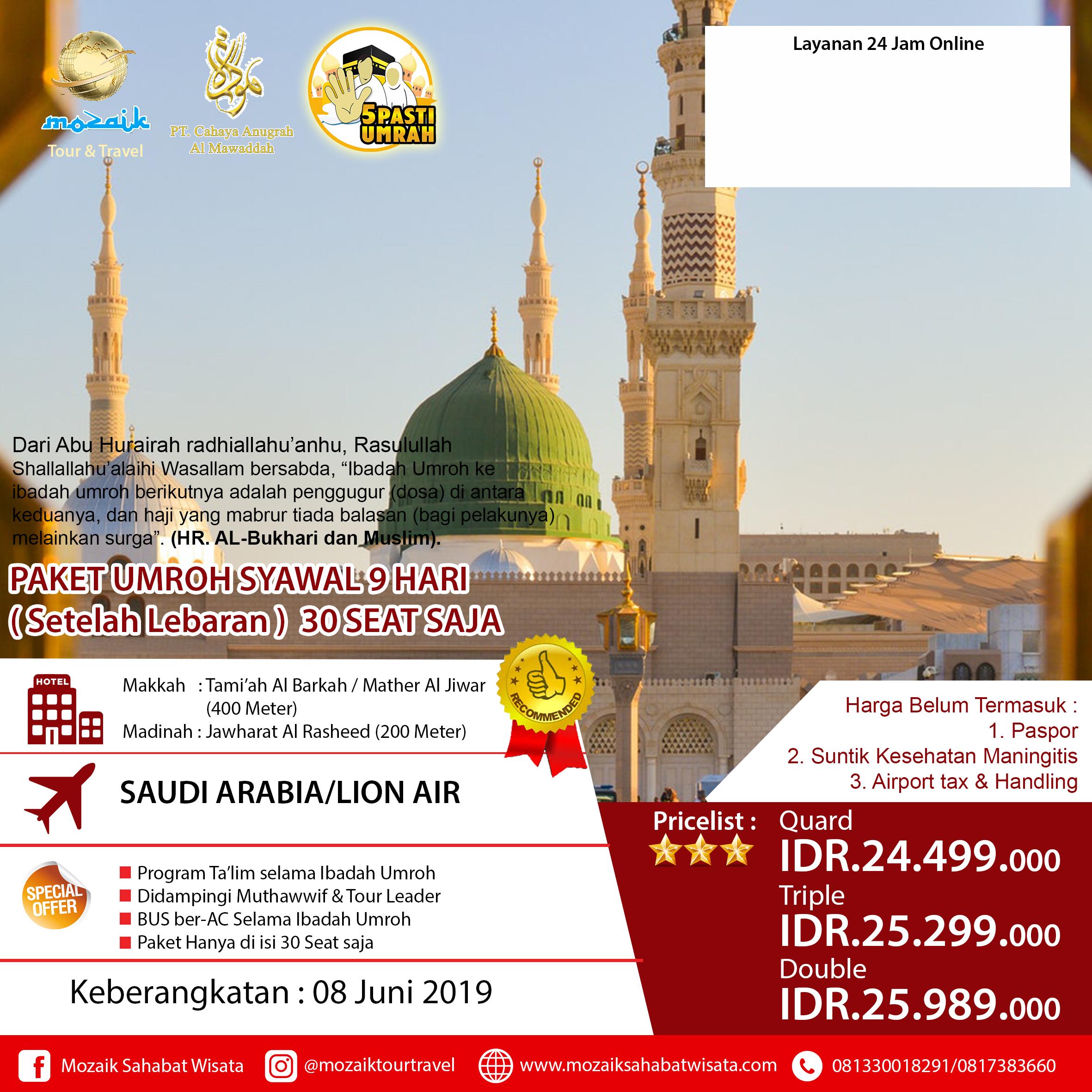 Paket Umroh Syawal 9 Hari 08 Juni 2019  adff5923f5