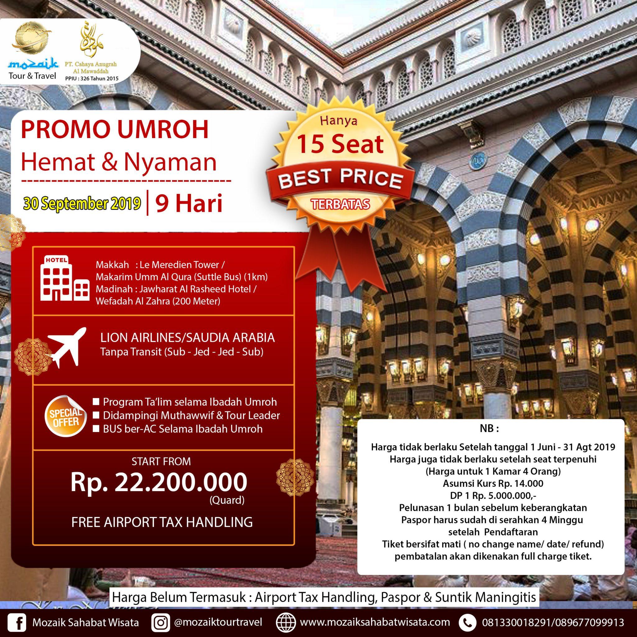 Paket Awal Umroh 9 Hari 30 September 2019  8d0051a18d
